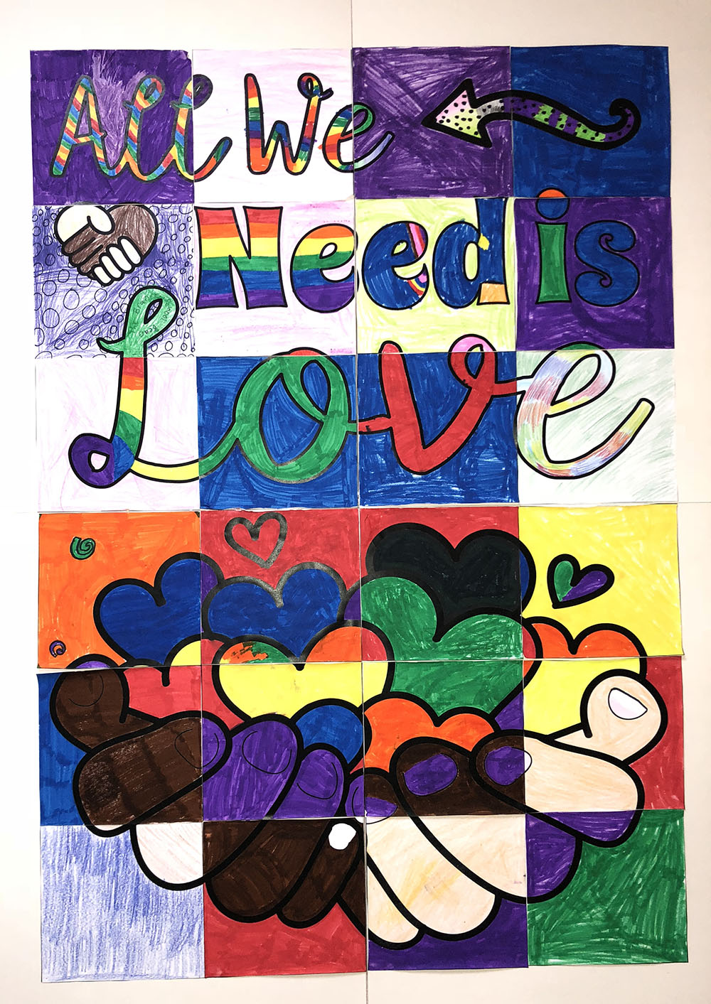 "Picture drawn by Branch School students with the saying ""All We Need is Love"""