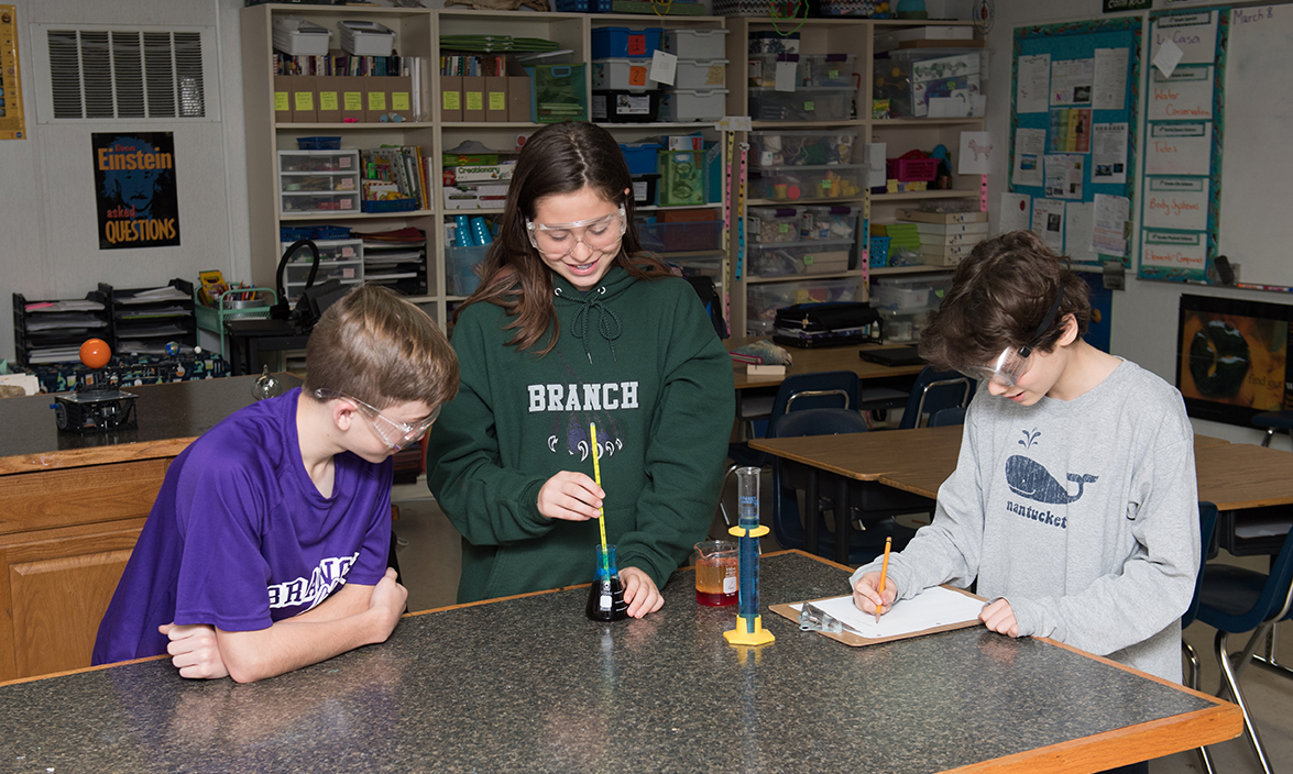 Students doing science experiement: The Branch School, Private School in Houston