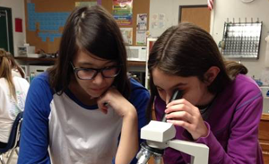 Two students looking through microscope.